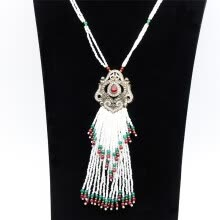 -Trendy Women Bead Long Strand Necklace Beads Tassels Bridal Jewelry Turkish Flower Pendant Resin Ethnic Sweater Chain Necklaces on JD