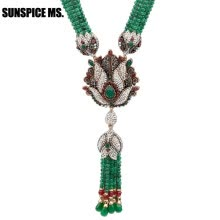 -Sunspice ms. Natural Stone Tassel Necklace Crystal Flower Drop Earrings Women Vintage Jewelry Set Antique Gold Luxury Party Gift on JD