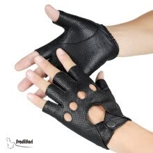 gloves-mittens-Wholesale New 2018 Hot Sale Driver Night Club Couples gloves Gothic Punk Rock Show Genuine Leather Half finger Fitness gloves on JD