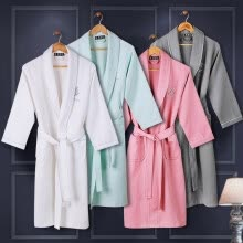 -Waffle Bathrobe Women Cotton Terry XL Women's Robe Nightgown Ladies Sleepwear Long Soft Home Hotel Spring Summer on JD