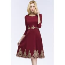 -Burgundy Short Lace Evening Dress Homecoming Dresses Cocktail Party Evening Gown Bridesmaid Gown on JD