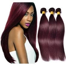hair-bulk-Protea Brazilian Hair Bundles Burgundy 99J Straight 100% Remy Hair Weave 100g/Bundle Human Hair Extensions Red on JD