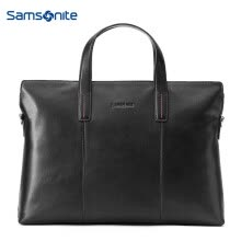 -Samsonite Cater Men's New Casual Briefcase Fashion Soft Leather Laptop Case TK9*09001 Black on JD
