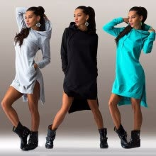 875061821-New Fashion Ebay hot Wish explosion of European and American fashion irregular Hooded Sweater Dress 112 on JD