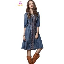 6936db2608 S M L chest 90-98cm vintage cotton summer 2018 blue jeans denim long dress  women half sleeve mid calf embroidery casual v neck