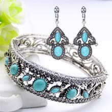 -Vintage Turkish Earrings Bracelet ImitatioTurquoise Jewelry Sets Antique Color Flower Bangle Bracelet Ethnic Gypsy Bride Jewelry on JD