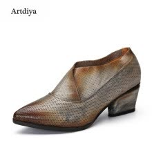 875061444-Artdiya Original 2018 New Pointed Toe Vintage Women's Shoes Cow Leather Handmade Hollowed-out Shoes 5367-59 on JD