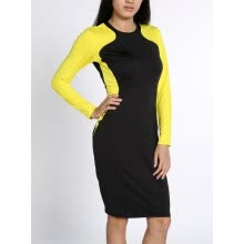 -Elegant Ladies Splice Yellow Cocktail Party Evening Bodycon Fitted Business Dress on JD