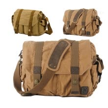 crossbody-bags-Men Khaki Vintage Canvas Bag Military Shoulder handbag Messenger Satchel School on JD