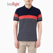 -INTERIGHT men's POLO shirt loop positioning color strip short sleeve yellow gray strip M on JD