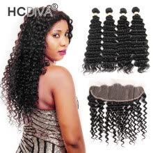 -HCDIVA Indian Unprocessed Virgin Human Hair Deep Wave Frontal Closure with 4 Bundle Hair Good Quality Natural Black No Shedding on JD