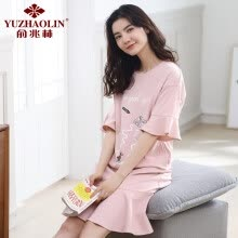 -Yu Zhaolin (YUZHAOLIN) pajamas female summer cotton short-sleeved ladies nightdress pajamas women's home service suits can be worn outside 3326 pink L on JD