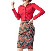 875061819-Women's fashion fashion shirt color square skirt suit on JD