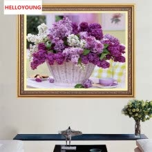 -5D Full Diamond Mosaic Diamond Embroidery Purple flower baskets Square Diamond Painting Cross Stitch Kits Home Decor on JD