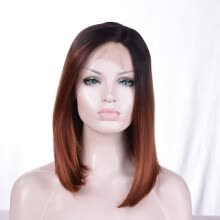 -QianBaiHui Synthetic Hair Lace Front Wigs Bobo Straight dark brown Color Head Wig on JD