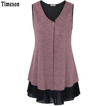-Timeson Summer Style Sleeveless Women Long Tunic Tops V-Neck Patchwork Chiffon Curved Hem T-shirt Knitted Women T-shirt Top on JD
