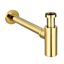 8750211-Vouruna Golden P-Trap Solid Brass Gold Bottle Trap Basin Pop Up Waste Plumbing Tube on JD