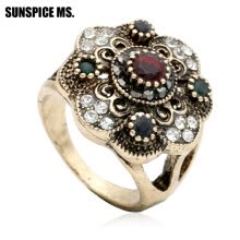 -Fashion Turkish Women Round Flower Vintage Rings Antique Gold Color Hollow Resin Jewelry Indian Bridal Wedding Ethnic Bijoux on JD