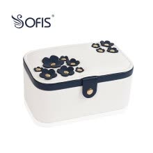 -SOFIS double jewel box cherry blossom jewelry box jewelry storage box simple leather jewelry box gift on JD