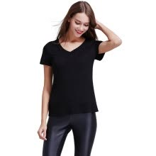 -POPBASIC Women's Basic Relax Fit V-Neck Short Sleeves Blank T-Shirts on JD
