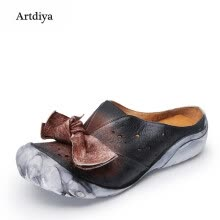 -Artdiya 2018 New Butterfly-knot Flat Women Shoes Female Handmade Hollow Genuine Leather Five Fingers Retro Slippers F89-62 on JD