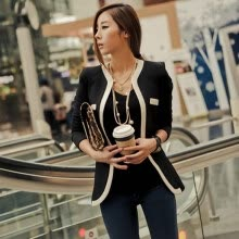 -Fashion New Women Suit Blazer Color Block Slim Coat Pocket Jacket Outerwear White on JD