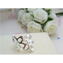 875062457-New Engagement Promise Ring Jewelry Sliver Ring Flower plated Austrian Crystal on JD