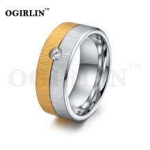 -Top Quality Men or Women Jewelry Stainless Steel Ring Gold Plated White Crystal Fashion Rings Wedding Band on JD