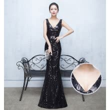 875065909-Slim Mermaid  V Neck Sequined Long Evening Dresses Fashion Prom Party Dresses on JD