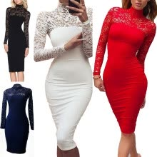 875061820-Bigood Women Elegant Long Sleeve Lace Slimming Bodycon Dress Party Skirt on JD