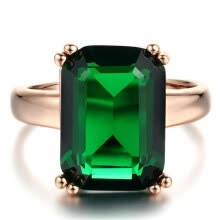 -Rose Gold Color Ring Fashion Green Big Square Crystal Wedding Jewelry For Women Wholesale R700 on JD