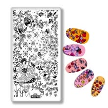 -Japanese Series Nail Stamping Template Images Printing Art Plates Stencil Geisha Flowers Butterfly for Nails Decoration C58 on JD