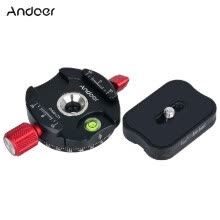 -Andoer PANC1 Panoramic Tripod Head Clamp Adapter Aluminum Alloy with Quick Release Plate for ArcaSwiss AS Standard QR Plates on JD