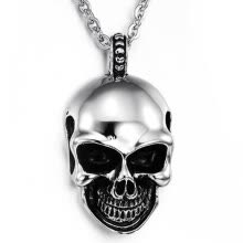 -Hpolw Mens Gothic Skull Stainless Steel Pendant Necklace, Silver Black, 18-26 inch Chain on JD