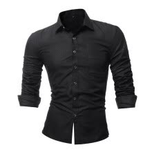 -Men's Fashion Slim Fit Business Long Sleeve T Shirt on JD