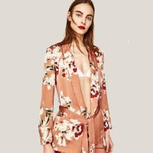 suiting-blazers-2018 New Fashion Deep V-neck Floral Print Casual Women Blazers Belt Autumn Slim Office Lady Coat on JD