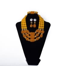 875062459-Multilayered Yellow Crystal Necklace  Africa Handmade Bead Necklace Bridal Wedding Jewelry Setting up Jewelry for women on JD