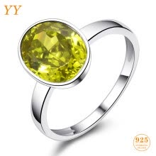 statement-rings-YY Fine Jewelry 925 Sterling Silver Shining Boutique Citrine Olive Yellow Vintage Trendy Fashion woman girl Party Gift Ring on JD