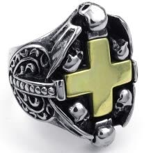 -Hpolw Mens 316L stainless steel gothic black Skull Cross rings,durable in use on JD