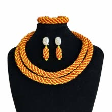 -Orange India Millet Beads Beaded Necklace Dubai Bridal Costume Jewelry Nigerian Wedding Beads African Jewelry Set For Women on JD