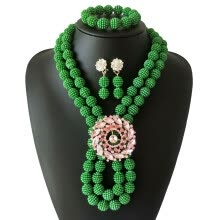 875062459-New Design Grass green color Balls African Wedding Jewelry two Layers african Beads Jewelry Sets Turkish bridal Collar 2018 on JD