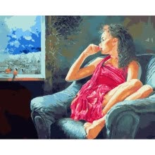 8750202-Diy Drawing Oil Painting Paint by Numbers Kit on Canvas with Acrylic Paints without Wooden Framed - Red Dress Woman on JD