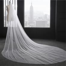 875062531-Simple White Ivory Cathedral Length Wedding Veils One Layer Tulle Long Bridal Veil Wedding Accessories with Comb on JD
