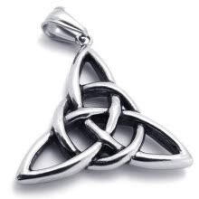 -Hpolw  Mens&Womens Vintage silver Stainless Steel Celtic Knot Amulet Triangle star Hollow Pendant Necklace,18-26' Chain on JD