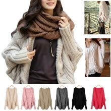 875061819-Women cardigan thick cape batwing sleeve knit loose casual wraps sweater tops on JD