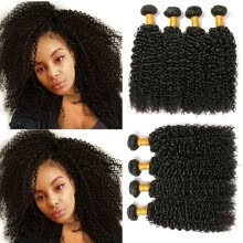 -CLAROLAIR Hair Brazilian Curly Hair Extensions Afro Brazilian Curly Virgin Hair 4 Bundles Unprocess Human Hair Bundles Kinky Curly on JD