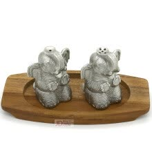 8750201-Oriental Pewter Pewter Condiments Set - Salt & Pepper Caddy Set Set of 3 Hand Carved w/ Baby Elephant Shaped Pure Tin 97% Leadfree on JD