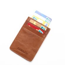 others-Genuine Leather Anti-theft Card Sets Pocket Business ID Wallet Credit Card Holder on JD