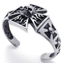 -Hpolw black&silver Stainless Steel Skull/skeleton head Cross Biker Tribal Mens deft design Bangle/ Bracelets on JD