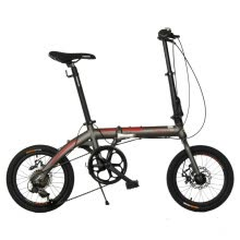 8750504-Permanent 16  7-speed aluminum alloy folding bike front and rear disc brakes / Shimano speed folding bike FA1602 white on JD